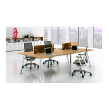 MDF wooden desktop partition 4 person working computer office workstation desk