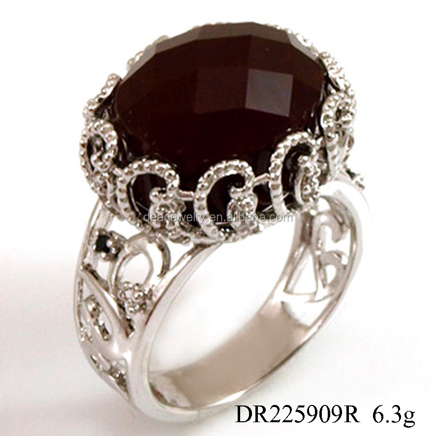 Factory Ordering Black Zircon Silver Metal Rings Accepted Customer Making