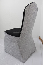 Silver Glitter Back Black Lycra Banquet Standard Chair Cover For Wedding Use