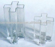 Elegant cross shaped tall clear glass vases