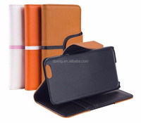 2015 New Design genuine leather 5.5 inch wallet flip cover mobile phone case