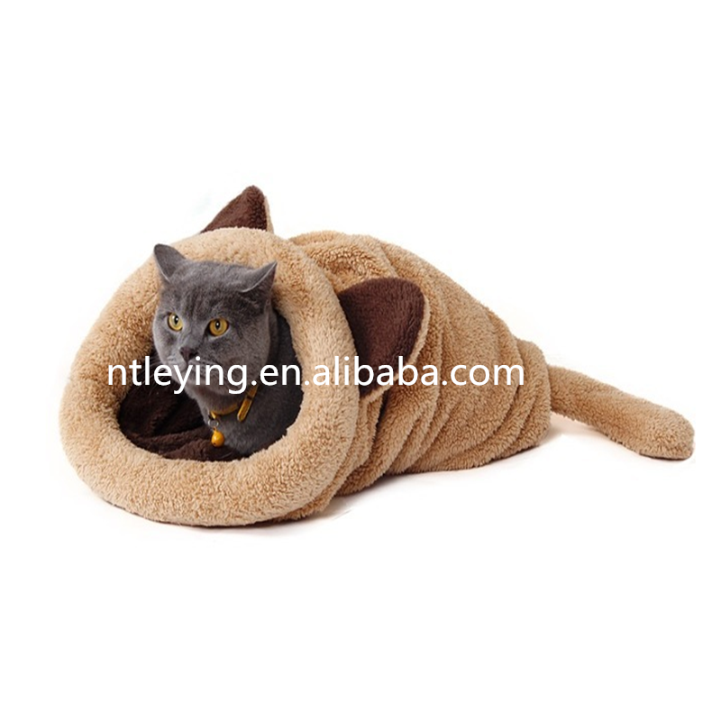 Wholesale high quality cat bed pet products sleeping bag beds warm and soft four seasons pet nest supplies LYGC021