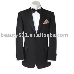 Mens Black Peak Lapel Dress Suit mr-8