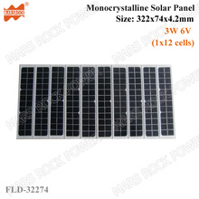 3W 6V 500mA Mono Crystalline Tempered glass Solar Panel PV Module with TUV, UL, CE, ROHS Certificated