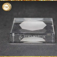 with sandblast square crystal paperweight