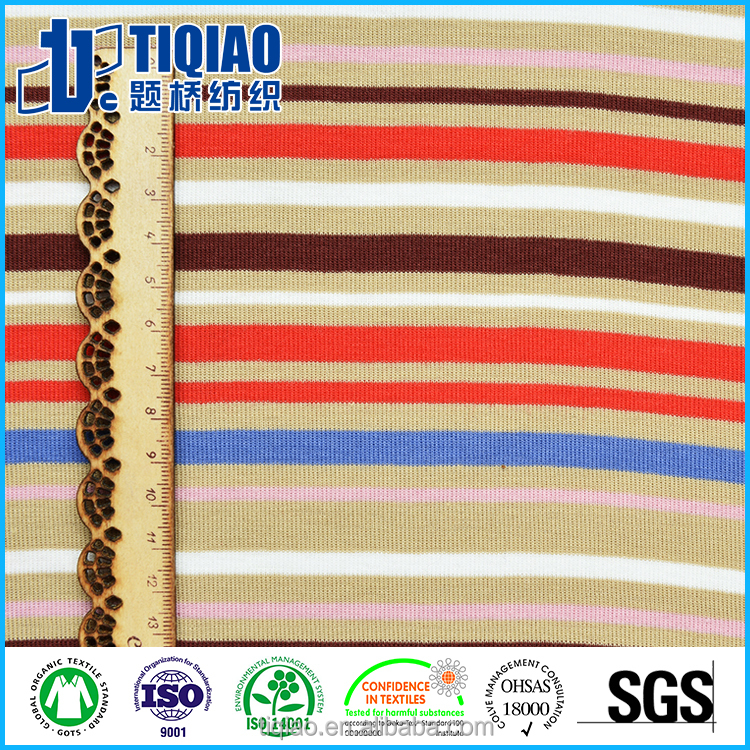 26S/1 Knit CVC60/40 1*1 striped ribbing fabric for garment