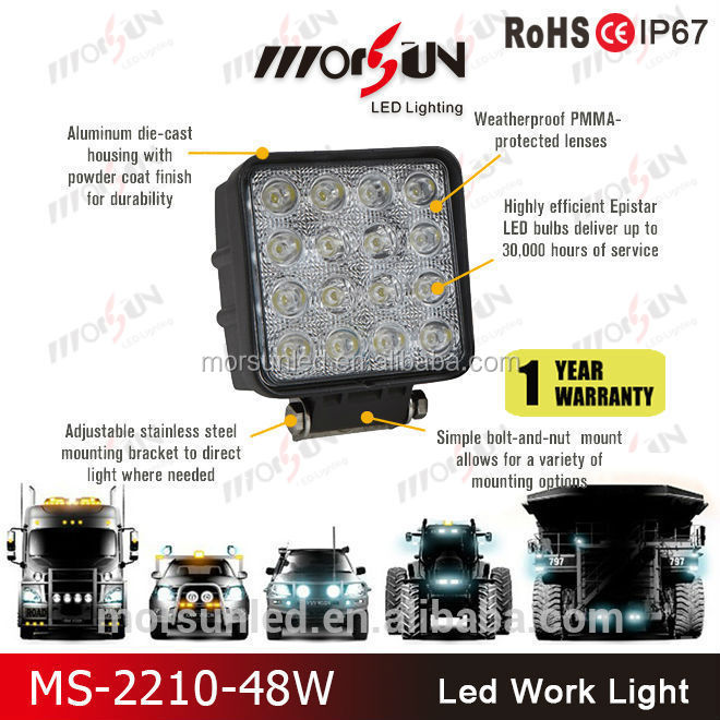 2016 Morsun 4*4 48watt led work lamp, 12v 24v 48w led driving light, flood 48w led work light for jeep wrangler,sxs,atv, utv