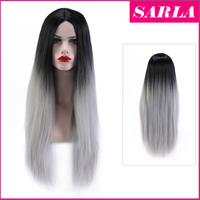 SARLA Wholesale two tone ombre syntetic hair wig gray hair wig for fashion salon