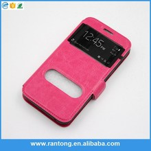 Double Window Flip Cover Leather Case For iPhone 5