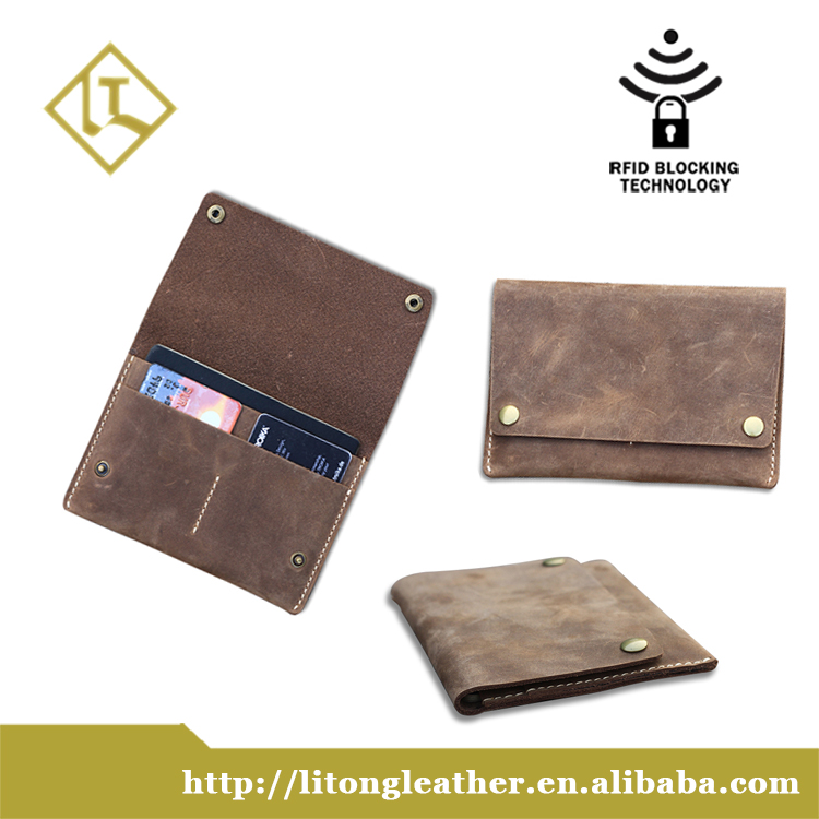 2016 RFID protection men leather passport holder mobile phone card holder