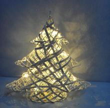 Battery operated christmas rattan tree with light rattan cone christmas tree