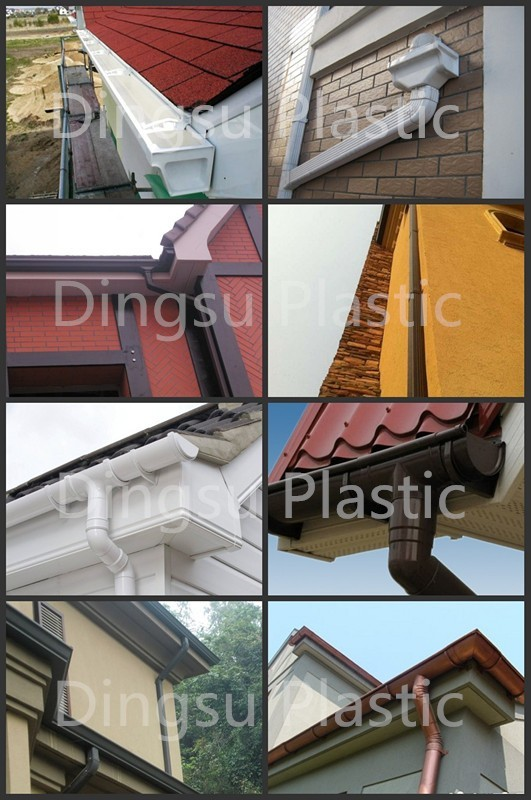 Pvc rain gutter fitting water collector and