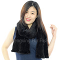 CX-S-22E Flower Decorated Fashion Women 2016 Knitting Real Mink Fur Winter Scarf