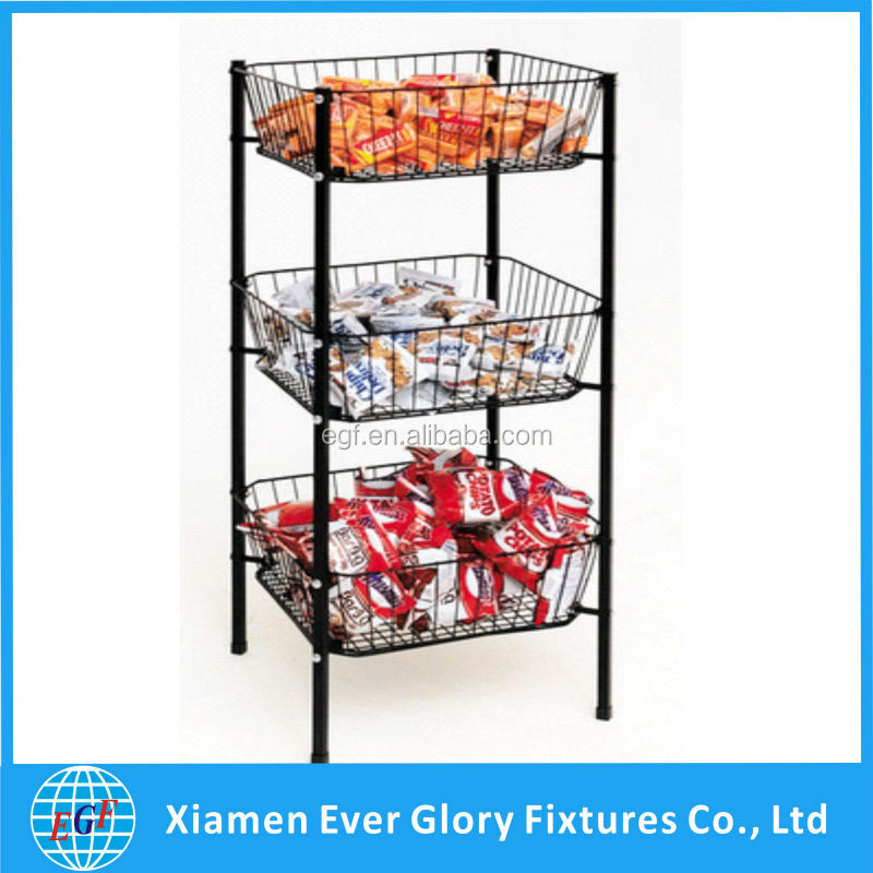 Tapered Wire Dump Bin with 3 Square Open Top Baskets