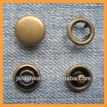 Fashion cap prong snap button in antique brass color