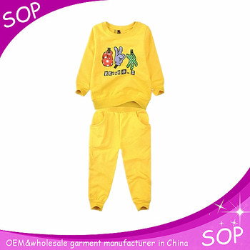 Yellow boys boutique sets leisure and fashion kids training suits