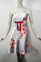 New Floral Printed Satin Babydoll Dress Sleepwear