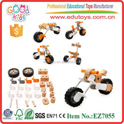 Newest Design Assemble Motorcycle Toys OEM Kids Wooden Educational Wholesale Construction Toys EZ7055