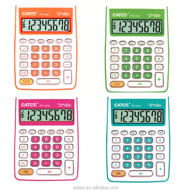 Colorful optional Mini Desktop calculator with transparent keys