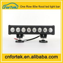 Aluminum housing one row 80w flood led light bar cover with 12 months warranty
