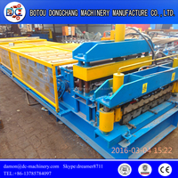 Exported standard roof tile double layer glazed tile roll forming machine