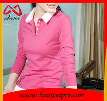 Blank red color spandex cotton woman slim fitting polo shirts