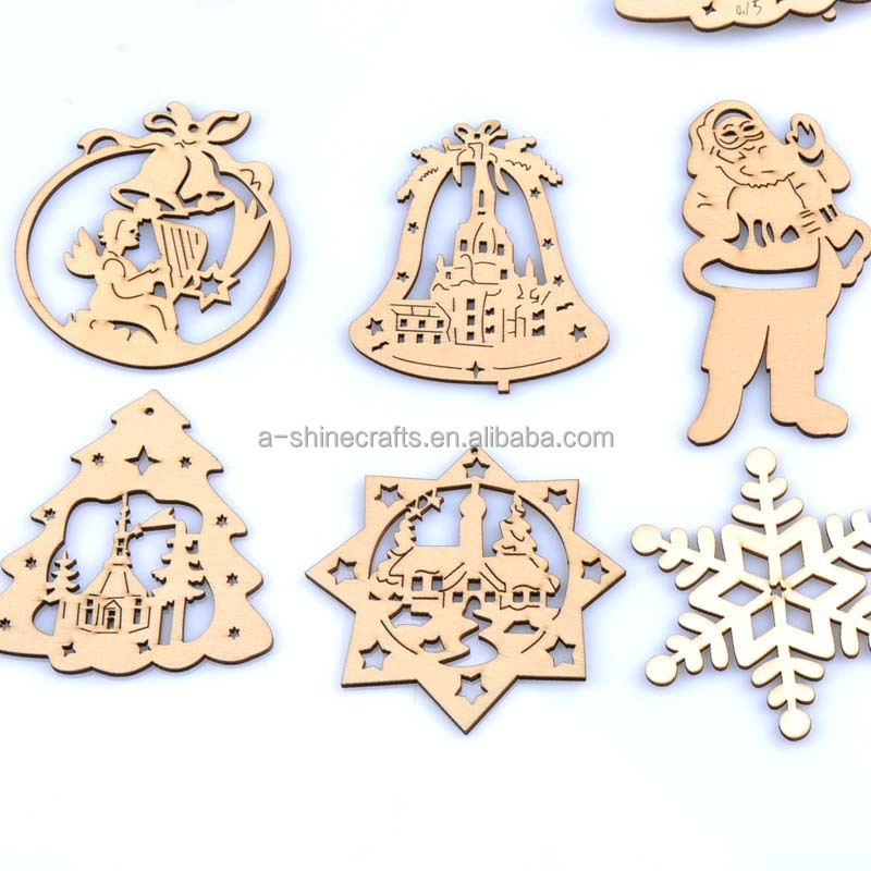 60-100mm natrual Christmas pattern wooden No Hole Buttons Scrapbooking <strong>Craft</strong> for Home decoration