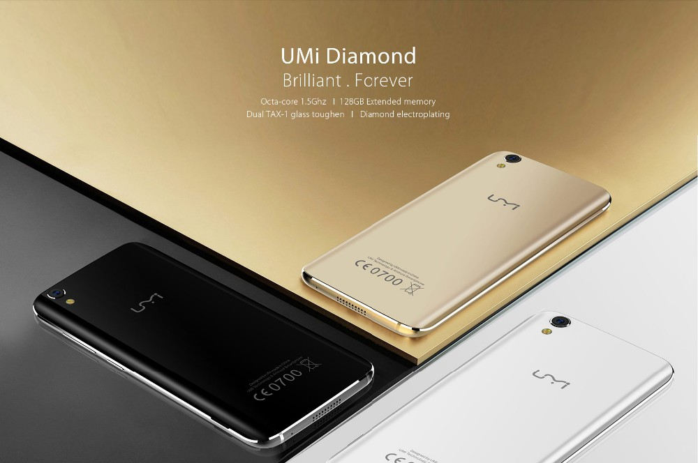 "Presale Umi Diamond 4G LTE 5.0"" 1280*720 Smartphone Android 6.0 MTK6753 Octa Core 3GB+16GB 8MP 2650mAh Mobile Phone"