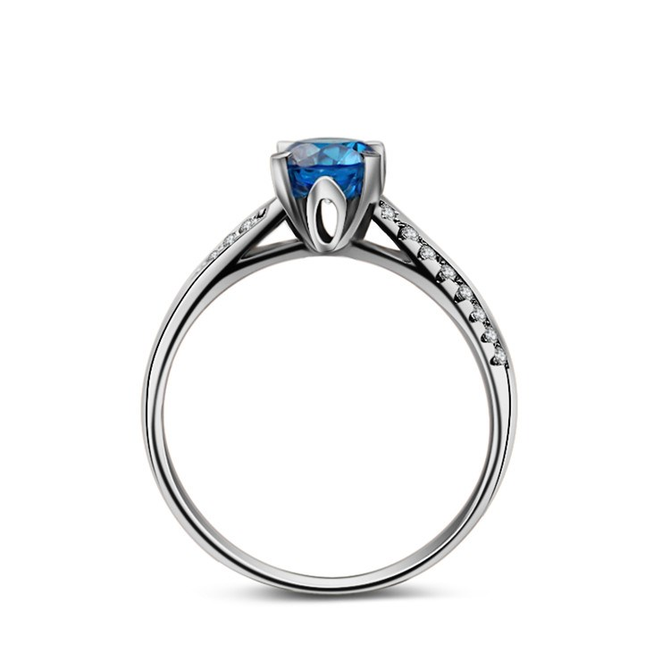 2016 Fashion Pure Silver Jewelry Wholesale 925 Sterling Silver Sapphire Diamond Wedding Ring
