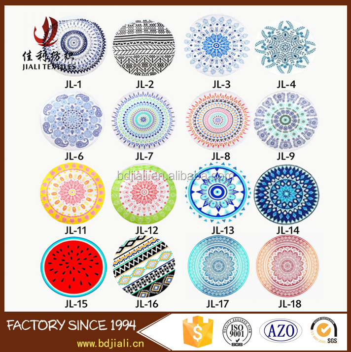 Factory supplies 100% <strong>Cotton</strong> 21s Round Beach towels with tassels