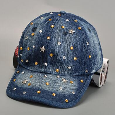 wholesale customize Rhinestone Crystal JEANS washed DENIM Hats Ball cap Sports Sparkle star trucker Baseball snapback jeans Caps