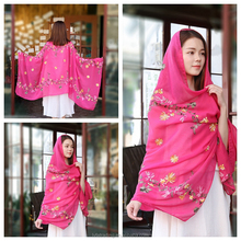 The New Linen floral embroidered scarf and shawl ladies Christmas scarves
