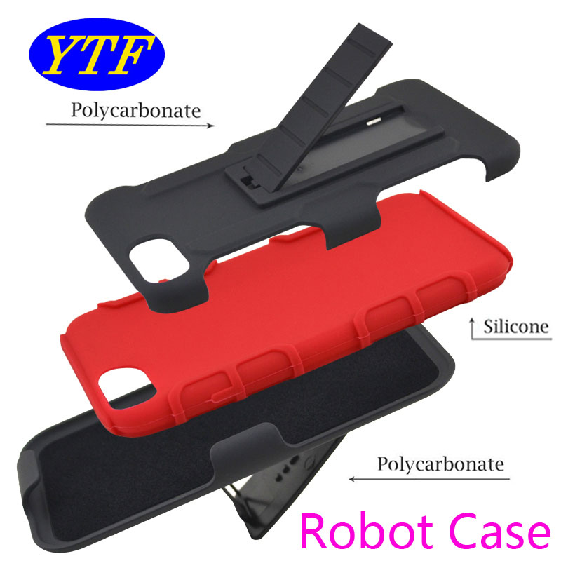 3 in 1 Robot Combo cover dual layer Belt Clip protective holster kickstand case for LG X Power
