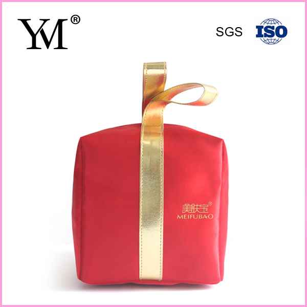 Hot sale unique shape red satin travel cosmetic bag