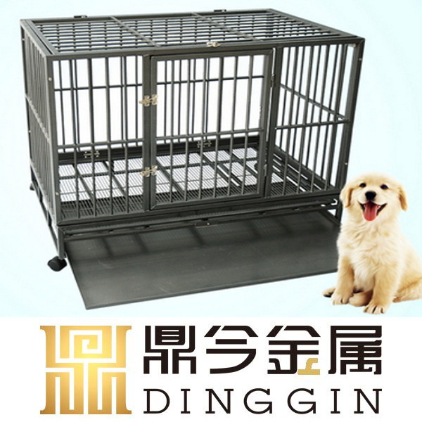 Wheeled mobile square tube dog cage