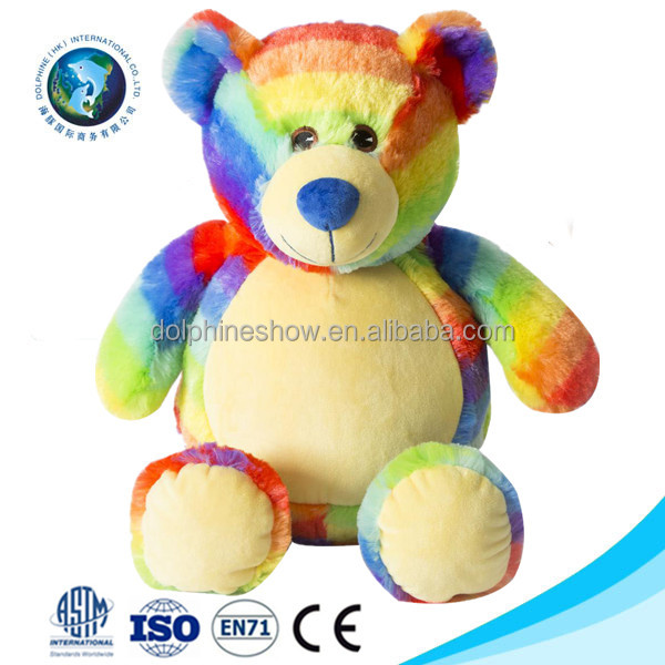 Fashion Custom cute colorful stuffed animal soft toy plush rainbow teddy bear