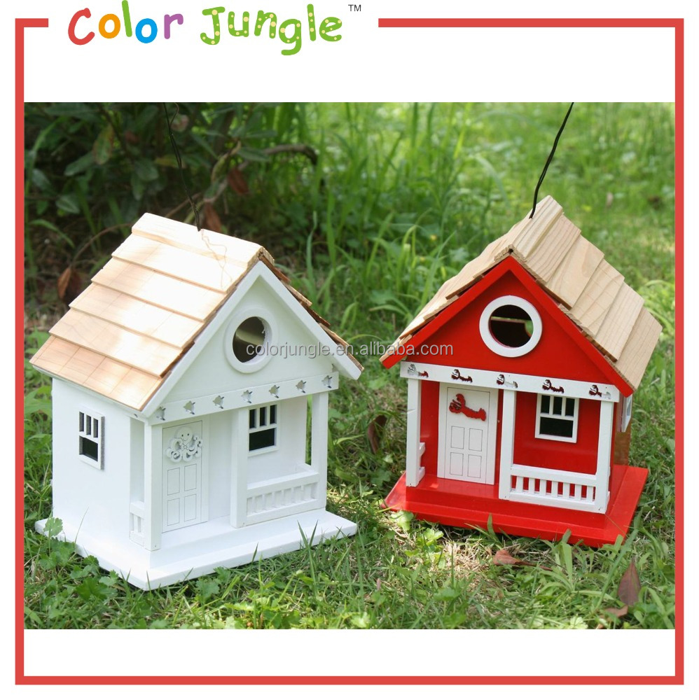 Wooden Cottage Bird house Hand painted Decorative Bird house