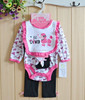 hot sale soft cotton cute boeknot stripe clevel Teddy dog pattern 4 piece child clothes