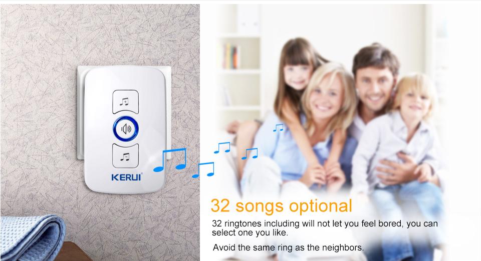 KERUI 2017 New Waterproof Multifunctional Wireless Doorbell with 32 Songs Support Multiple Doorbell Transmitter Welcome Chime_03
