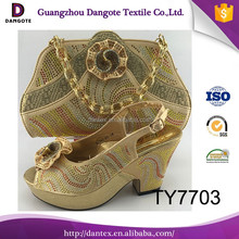 2017 Gold TY7703 Italian shoes matching bags/set for wedding low heel / african shoes and bags for party
