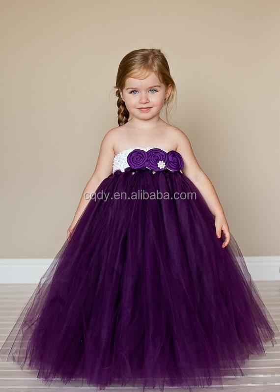 Flower girl dress royal blue purple raw silk dusty evening party ...