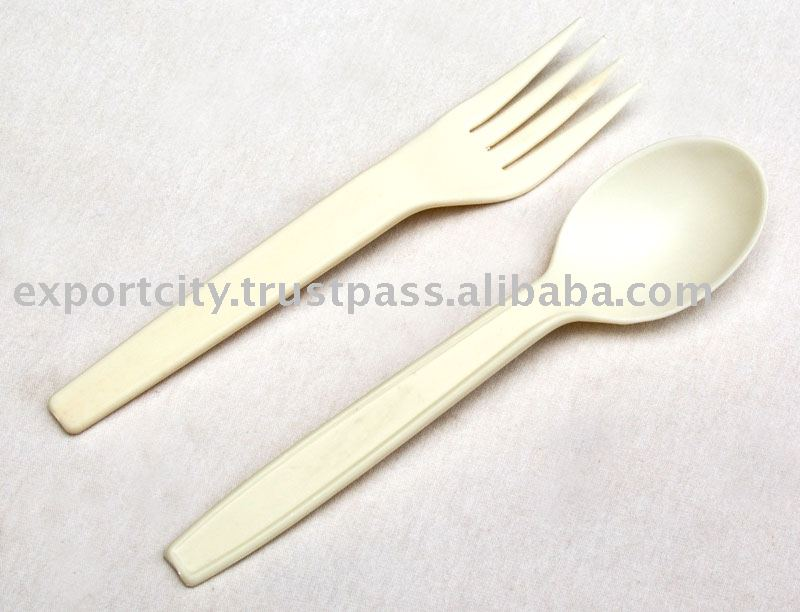 Bioplastic, biodegradable, disposable fork and spoon cutlery