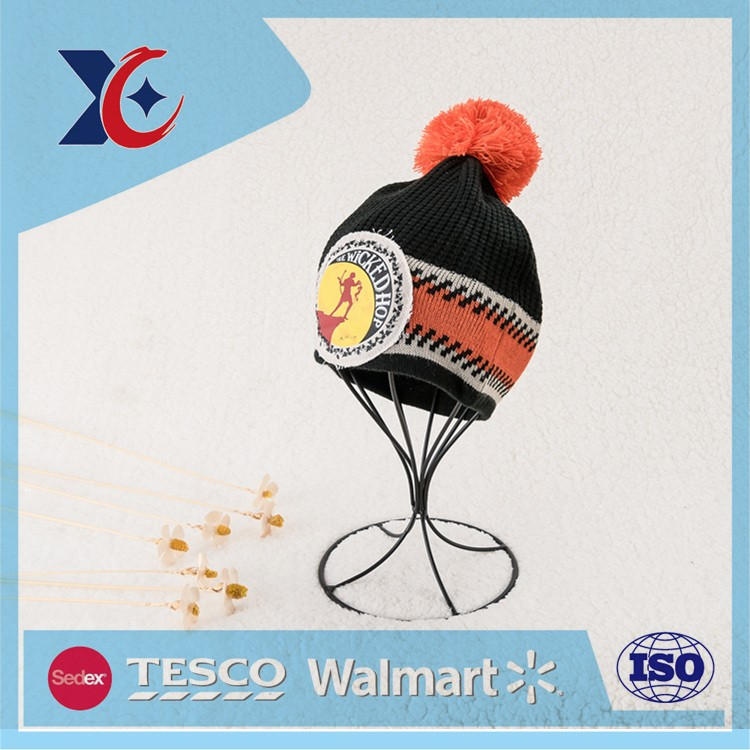 Hot Sale Fashion Custom Winter knitted hat black sport beanie