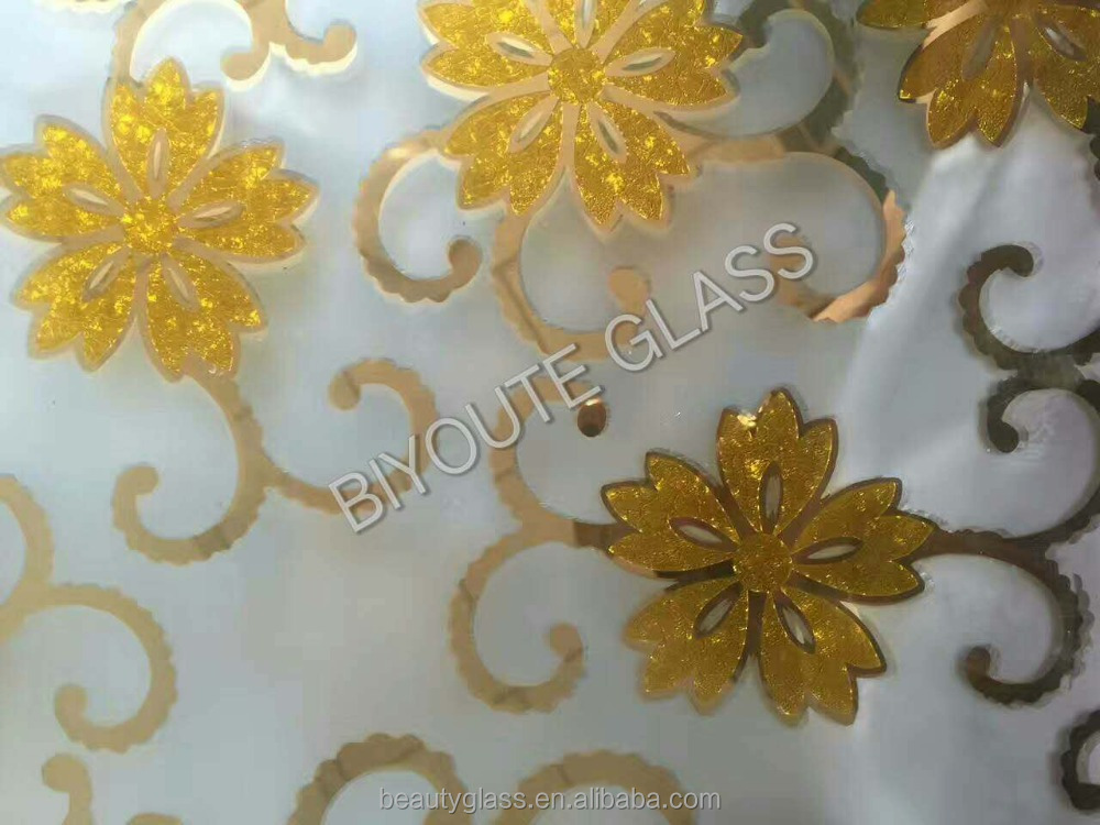new products 2017 golden coated acid ice flower <strong>glass</strong>