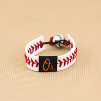 MLB Baltimore Orioles White Leather Baseball Seam Bracelet w/RED Seams