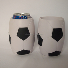 whihte and black soccerball pu can drink beer holder