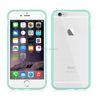 Clear slim transparent hard PC plastic back cover flexible TPU silicone frame bumper hybrid case for iPhone 6/ 6 plus