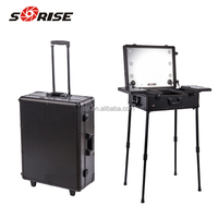 Professional rolling travel trolley train 6-lights aluminum cosmetic makeup case with light
