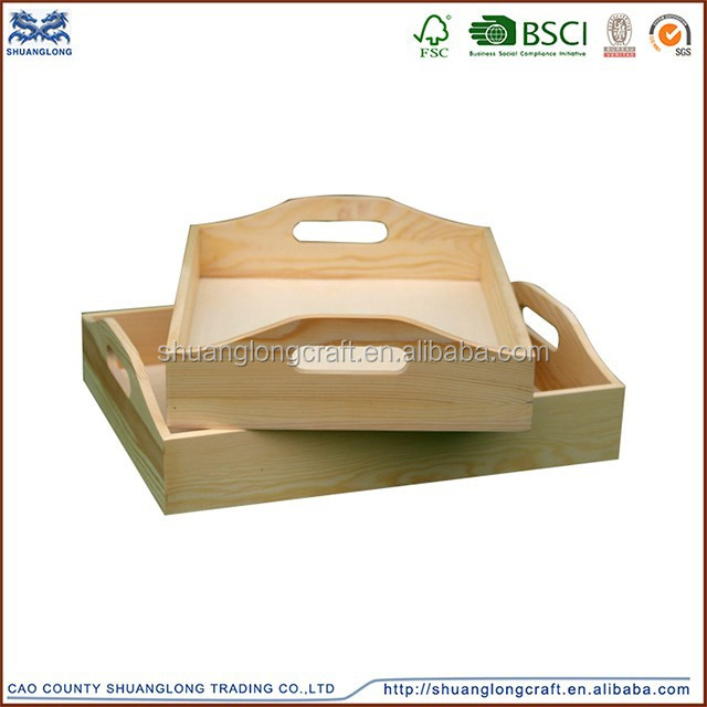 2015 new fashion and hot sale antique wood serving trays with handle