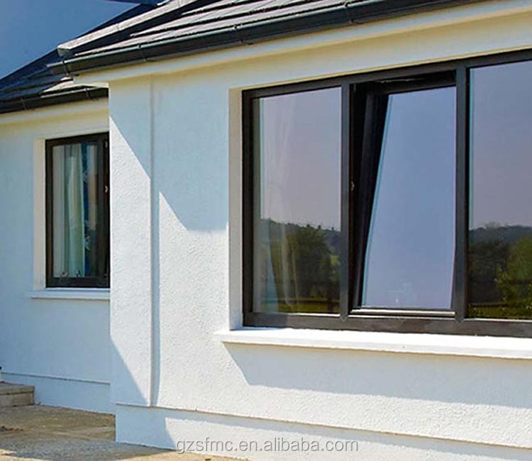 Aluminium tilt and turn window with tempered glass